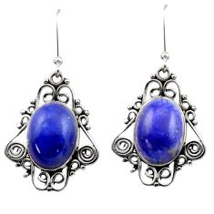 925 sterling silver 12.34cts natural blue lapis lazuli dangle earrings d40973