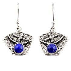 Clearance Sale- 925 sterling silver 2.12cts natural blue lapis lazuli dangle earrings d45804