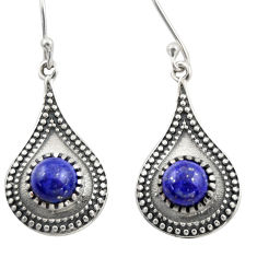 925 sterling silver 5.52cts natural blue lapis lazuli dangle earrings d46973