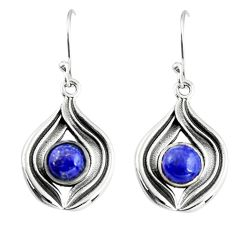 925 sterling silver 2.19cts natural blue lapis lazuli dangle earrings r19819