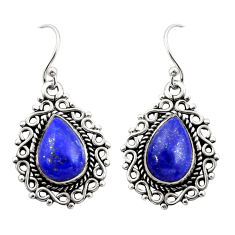 925 sterling silver 8.22cts natural blue lapis lazuli dangle earrings r21712