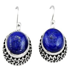 925 sterling silver 9.72cts natural blue lapis lazuli dangle earrings r21860
