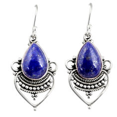 925 sterling silver 8.75cts natural blue lapis lazuli dangle earrings r30887