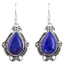 925 sterling silver 8.73cts natural blue lapis lazuli dangle earrings r30947