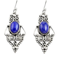 925 sterling silver 4.28cts natural blue lapis lazuli dangle earrings r31191