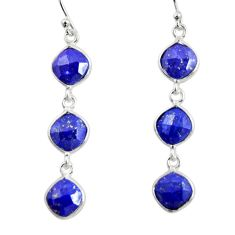 925 sterling silver 10.47cts natural blue lapis lazuli dangle earrings r33531
