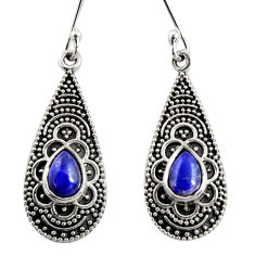 925 sterling silver 3.14cts natural blue lapis lazuli dangle earrings r35132