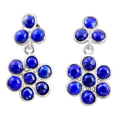 925 sterling silver 8.15cts natural blue lapis lazuli dangle earrings r35548