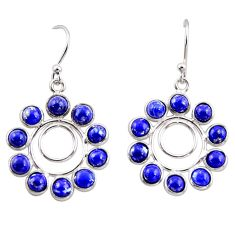 925 sterling silver 10.08cts natural blue lapis lazuli dangle earrings r35567