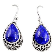 925 sterling silver 8.27cts natural blue lapis lazuli dangle earrings r36858