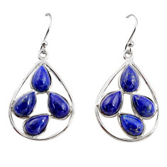 925 sterling silver 13.02cts natural blue lapis lazuli dangle earrings r37376