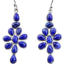 925 sterling silver 14.18cts natural blue lapis lazuli dangle earrings r37508