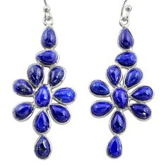 925 sterling silver 14.18cts natural blue lapis lazuli dangle earrings r37512