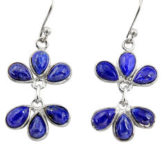 925 sterling silver 10.50cts natural blue lapis lazuli dangle earrings r37574