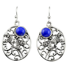 925 sterling silver 2.41cts natural blue lapis lazuli dangle earrings r38100