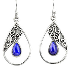 925 sterling silver 4.69cts natural blue lapis lazuli dangle earrings r38132