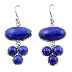 925 sterling silver 17.96cts natural blue lapis lazuli dangle earrings r40405