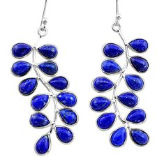 925 sterling silver 16.99cts natural blue lapis lazuli dangle earrings t1776