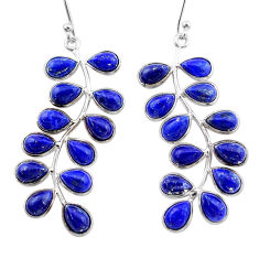 925 sterling silver 17.46cts natural blue lapis lazuli dangle earrings t1779