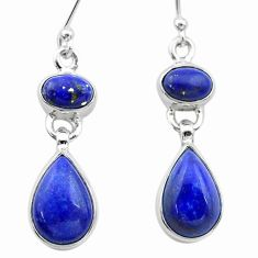 925 sterling silver 10.41cts natural blue lapis lazuli dangle earrings t19591
