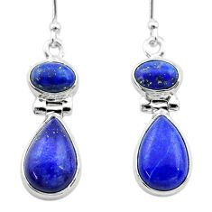 925 sterling silver 10.43cts natural blue lapis lazuli dangle earrings t19595