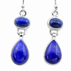 925 sterling silver 10.70cts natural blue lapis lazuli dangle earrings t19599