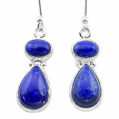 925 sterling silver 9.98cts natural blue lapis lazuli dangle earrings t19744