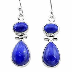 925 sterling silver 10.60cts natural blue lapis lazuli dangle earrings t19747