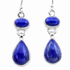 925 sterling silver 10.72cts natural blue lapis lazuli dangle earrings t19754
