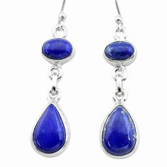 925 sterling silver 11.15cts natural blue lapis lazuli dangle earrings t19757