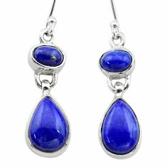 925 sterling silver 10.23cts natural blue lapis lazuli dangle earrings t19760