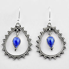 925 sterling silver 3.52cts natural blue lapis lazuli dangle earrings t27009