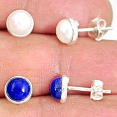 925 sterling silver 5.27cts natural blue lapis lazuli pearl stud earrings r81628