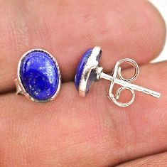 925 sterling silver 3.83cts natural blue lapis lazuli round stud earrings t29293