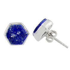 925 sterling silver 6.67cts natural blue lapis lazuli stud earrings r80284