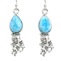 925 sterling silver 5.13cts natural blue larimar angel earrings jewelry r72434