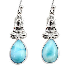 925 sterling silver 5.23cts natural blue larimar buddha charm earrings r48260