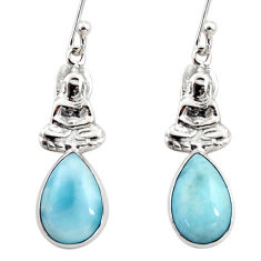 925 sterling silver 6.03cts natural blue larimar buddha charm earrings r48269