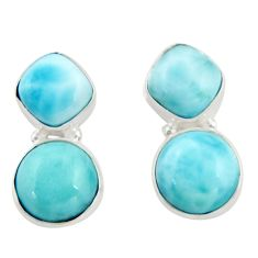 925 sterling silver 14.01cts natural blue larimar dangle earrings jewelry d47556