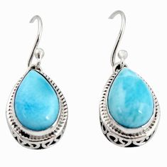 925 sterling silver 8.44cts natural blue larimar dangle earrings jewelry r36633