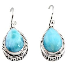 925 sterling silver 8.44cts natural blue larimar dangle earrings jewelry r36638