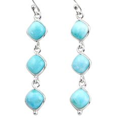 925 sterling silver 14.18cts natural blue larimar dangle earrings jewelry r38156
