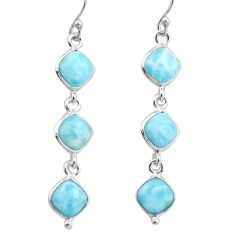 925 sterling silver 13.60cts natural blue larimar dangle earrings jewelry r38159