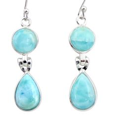 925 sterling silver 12.52cts natural blue larimar dangle earrings jewelry r38164