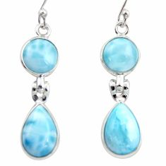 925 sterling silver 12.52cts natural blue larimar dangle earrings jewelry r38168