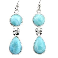 925 sterling silver 13.13cts natural blue larimar dangle earrings jewelry r38173