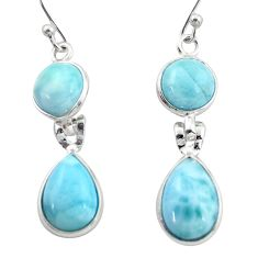 925 sterling silver 12.52cts natural blue larimar dangle earrings jewelry r38179
