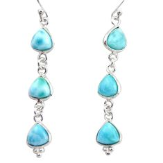 925 sterling silver 12.57cts natural blue larimar dangle earrings jewelry r38185
