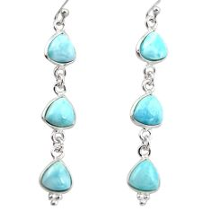 925 sterling silver 11.93cts natural blue larimar dangle earrings jewelry r38189