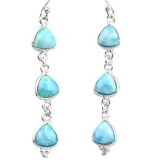 925 sterling silver 12.57cts natural blue larimar dangle earrings jewelry r38192